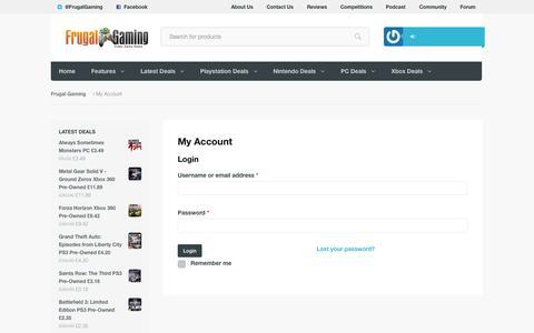 Screenshot of Login Page frugalgaming.co.uk - My Account | Frugal Gaming - captured Sept. 19, 2014