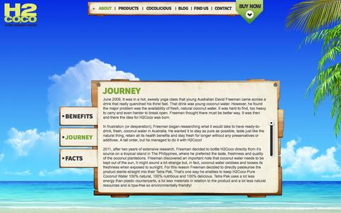 Screenshot of About Page h2coconut.com - About | H2Coco Pure Coconut Water - captured Oct. 1, 2014