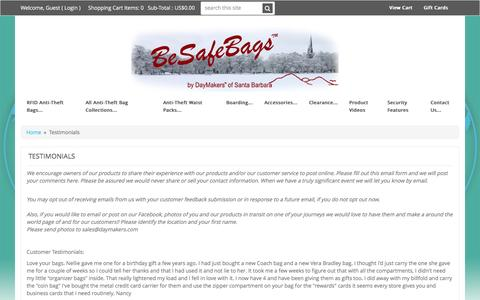 Screenshot of Testimonials Page besafebags.com - Testimonials - BeSafeBags by DayMakers of Santa Barbara - captured Feb. 8, 2016