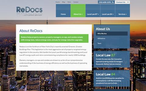 Screenshot of About Page redocs.com - About ReDocs | Local Law 87 Energy Audit | NYC Local Law 84 - captured Oct. 27, 2014