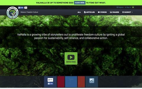 Screenshot of Home Page valhallamovement.com - The Valhalla Movement - captured Jan. 16, 2016