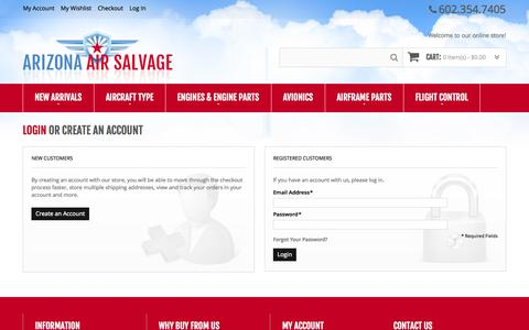 Screenshot of Login Page arizonaairsalvage.com - Customer Login - captured Oct. 4, 2014