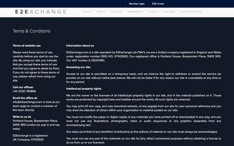 Screenshot of Terms Page e2exchange.com - E2Exchange - For entrepreneurs by entrepreneurs - captured May 11, 2017