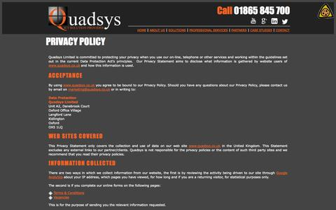 Screenshot of Privacy Page quadsys.co.uk - Quadsys - ICT Solution provider - captured Oct. 2, 2014