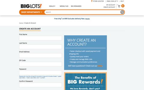 Screenshot of Signup Page biglots.com - Big Lots: Create Account - captured April 10, 2018