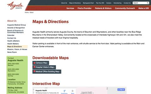 Screenshot of Maps & Directions Page augustahealth.com - Maps & Directions   Augusta Health - captured July 27, 2016