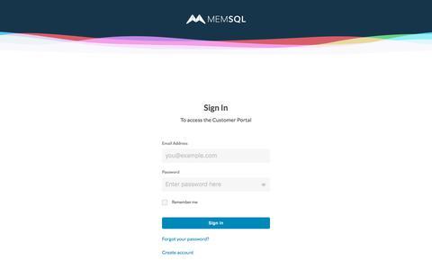 Screenshot of Login Page memsql.com - Log in to Customer Portal - captured July 10, 2019