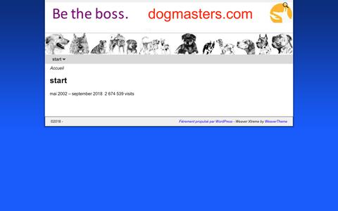 Screenshot of Home Page dogmasters.com captured Oct. 11, 2018
