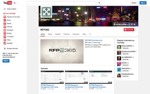 Screenshot of YouTube Page youtube.com - RFP365  - YouTube - captured Oct. 29, 2014