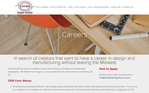 Screenshot of Jobs Page clothierdesignsource.com - Careers Ń Clothier Design Source - captured Dec. 9, 2015