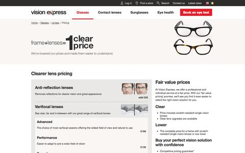 Screenshot of Pricing Page visionexpress.com - Frame + Lenses = 1 price at Vision Expres - captured Oct. 1, 2015