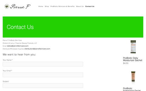 Screenshot of pierrefskincare.com - Contact Us — PierreF Skincare - captured July 21, 2015