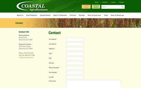 Screenshot of Contact Page coastalagro.com - Contact | Coastal AgroBusiness - captured Oct. 3, 2014