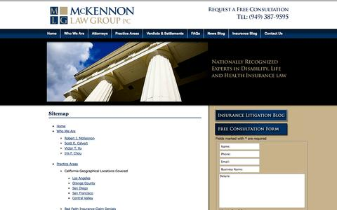 Screenshot of Site Map Page mslawllp.com - Sitemap - McKennon Law Group PC - captured Oct. 31, 2014