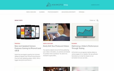 Screenshot of Blog animoto.com - Learn How to Make a Slideshow Video on the Animoto Blog - captured Sept. 13, 2014