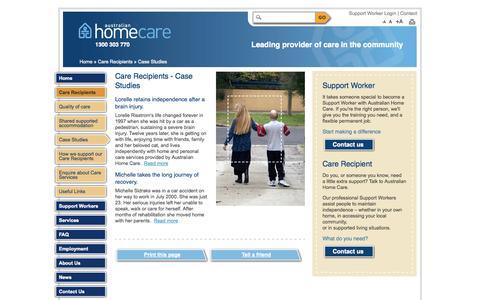 Screenshot of Case Studies Page ahcs.org.au - Care Recipients - Case Studies | Australian Home Care Services - captured Oct. 4, 2014