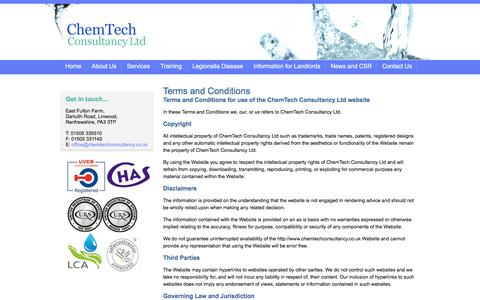 Screenshot of Terms Page chemtechconsultancy.co.uk - ChemTech Consultancy Ltd - Legal - Terms and Conditions - captured Nov. 5, 2016
