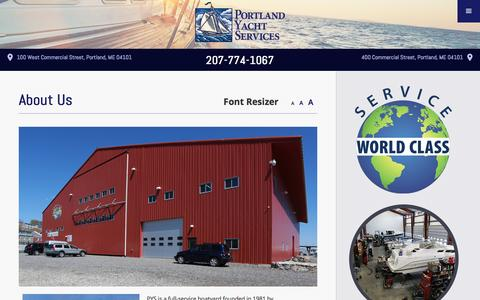 Screenshot of About Page portlandyacht.com - Boating Services Southern Maine | Boat Repair Portland ME - captured Nov. 8, 2016