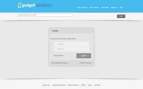Screenshot of Login Page gadgetsalvation.com captured Sept. 25, 2014