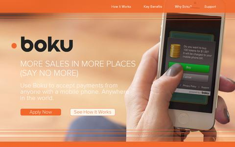 Screenshot of Home Page boku.com - Home | BOKU - captured July 11, 2014