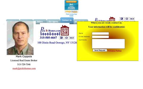 Screenshot of Contact Page pickithomes.com - Contact us - captured Oct. 1, 2014