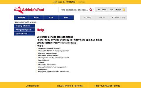 Screenshot of Support Page theathletesfoot.com.au - Customer Service - captured Sept. 24, 2014