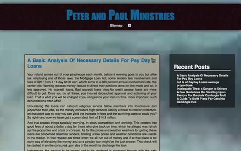 Screenshot of Home Page peterandpaulministries.com captured Sept. 29, 2014