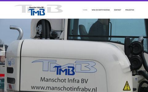 Screenshot of Home Page manschotinfrabv.nl - Manschot Infra BV – Manschot Infra BV is sinds 1989 werkzaam in de bestratings- branche en heeft in de loop van tijd veel projecten gerealiseerd. De projecten verschillenden in grootte en duur. We hebben verschillende soorten eigen materieel tot onze - captured July 25, 2018