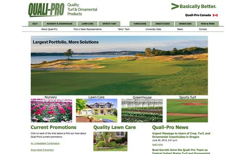 Screenshot of Home Page quali-pro.com - Quality Turf and Ornamental Products | Quality Lawn & Turf Care | Quali-Pro - captured Sept. 30, 2014