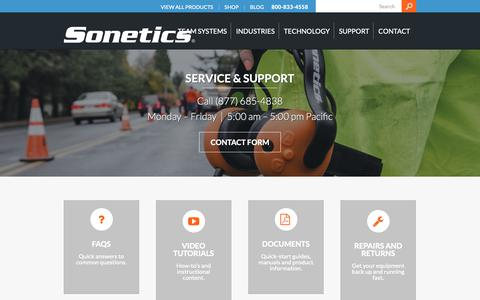 Screenshot of Support Page soneticscorp.com - Customer Service and Technical Support - Sonetics - captured Oct. 20, 2018