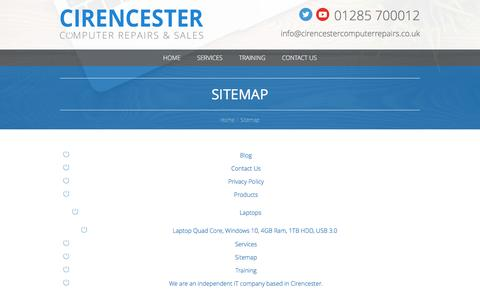 Screenshot of Site Map Page cirencestercomputerrepairs.co.uk - Sitemap – Cirencester Computer Repairs - captured May 17, 2017