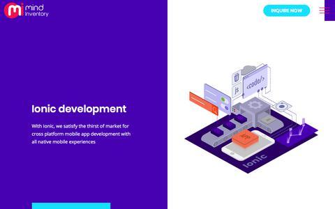 Screenshot of mindinventory.com - Ionic Development India | Ionic Mobile App Development Company - captured Nov. 24, 2017