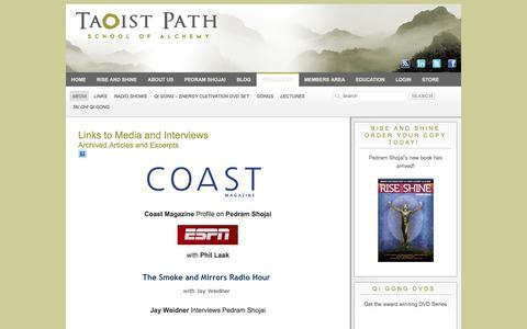 Screenshot of Press Page taoistpath.com - Links to popular media and interviews with Pedram Shojai - captured Oct. 27, 2014