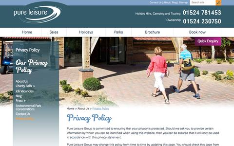 Screenshot of Privacy Page pureleisuregroup.com - Privacy Policy | Pure Leisure Group - captured Jan. 17, 2016