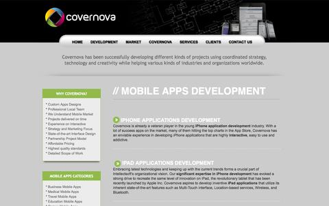 Screenshot of Services Page covernova.com - Covernova Services: Mobile Apps Development for iPhone, Android and Blackberry - captured Oct. 3, 2014