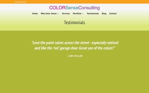 Screenshot of Testimonials Page colorsenseconsulting.com - Perfect Paint Colors, Happy Customers in Kansas City - captured Jan. 29, 2016