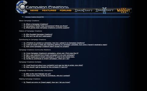 Screenshot of FAQ Page campaigncreations.org - Campaign Creations General FAQ - Campaign Creations - captured July 11, 2016