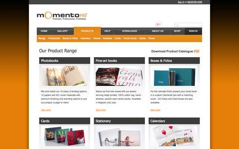 Screenshot of Products Page momentopro.com.au - Product Range : Momento Pro - captured Oct. 7, 2014