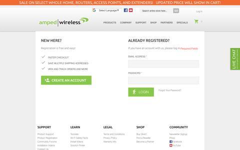 Screenshot of Login Page ampedwireless.com - Customer Login - captured July 30, 2018