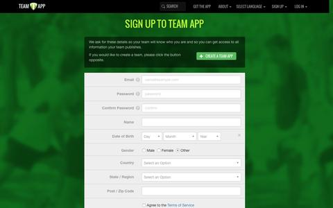 Screenshot of Signup Page teamapp.com - Sign up to Team App - captured Feb. 12, 2016