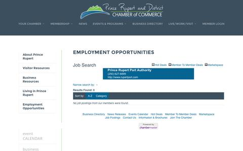 Screenshot of Jobs Page princerupertchamber.ca - Job Search - Employment Opportunities | Prince Rupert and District Chamber of Commerce - captured Nov. 12, 2016