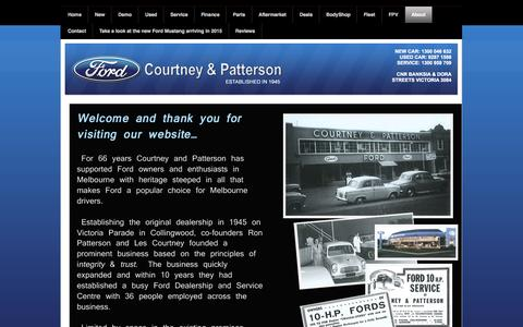 Screenshot of About Page cpford.com.au - Courtney and Patterson Ford, Ford  Melbourne, Used Ford Cars, Ford Dealership, Ford New Car, New Ford, Ford Servicing - About - captured Oct. 27, 2014