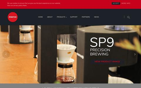 Screenshot of Home Page marcobeveragesystems.com - Home - Marco Beverage Systems Ltd. - captured Sept. 20, 2018