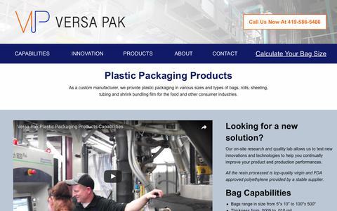 Screenshot of Products Page versa-pak.com - Custom Manufactured Plastic Packaging Products | Versa Pak - captured June 19, 2017