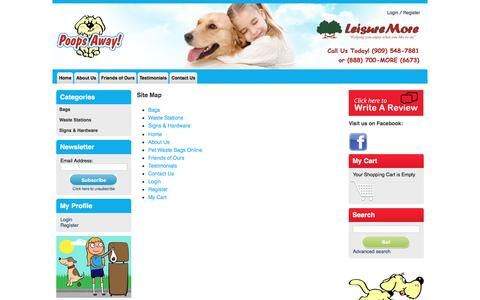 Screenshot of Site Map Page poops-away.com - About Poops Away, providing dog supplies such as bag dispensers and scoops in Chino Hills, CA. - captured June 15, 2016