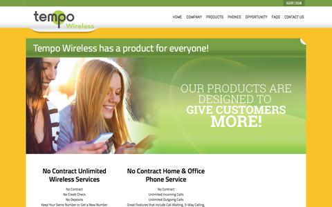 Screenshot of Products Page tempowireless.com - Tempo Wireless - captured Jan. 18, 2016