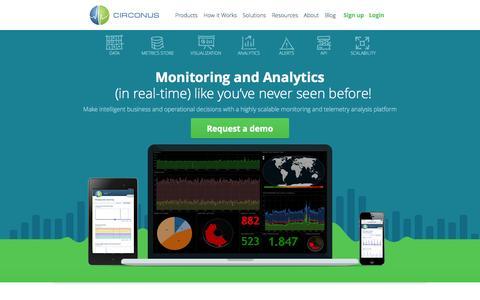 Screenshot of Home Page circonus.com - Circonus | Real-time Monitoring and Analytics Tools - captured Oct. 10, 2014