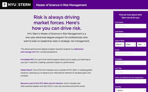 Screenshot of Landing Page nyu.edu - NYU Stern Master of Science in Risk Management - captured Nov. 12, 2016
