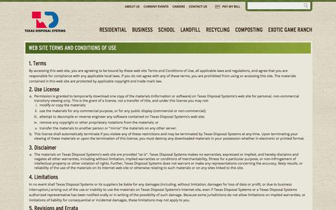 Screenshot of Terms Page texasdisposal.com - Web Site Terms and Conditions of Use   Texas Disposal Systems - captured Feb. 28, 2016