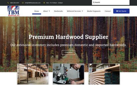 Screenshot of Home Page tbmhardwoods.com - TBM Hardwoods, Inc | Premium Hardwood Supplier | Domestic & Imported - captured Jan. 10, 2019